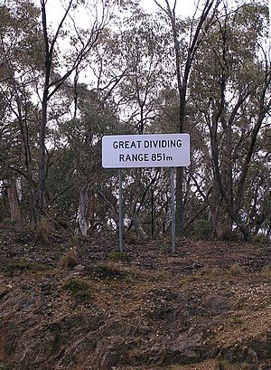 Great Dividing Range - Great Dividing Range sign on the Kings Highway between Braidwood and Bungendore, New South Wales
