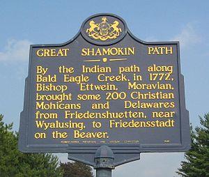 Great Shamokin Path - Great Shamokin Path Pennsylvania Historical Marker on Pennsylvania Route 150 west of Lock Haven