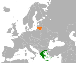 Map indicating locations of Greece and Lithuania