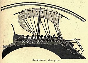Bireme - Greek bireme circa 500BC, image from a Greek vase in the British Museum, which was found at Vulci in Etruria.