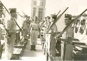 Hellenic Military Academy - Cadets in summer uniform and Lee–Enfield rifles, 1955