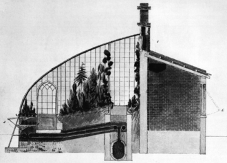 John Claudius Loudon - Design greenhouse for Royal Horticultural Society, 1818.