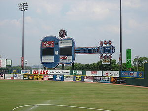 Larry Schmittou - Greer's iconic guitar-shaped scoreboard, installed in 1993