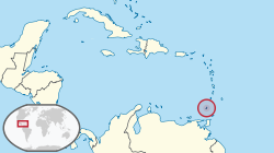 Map indicating the location of Grenada in the Lesser Antilles.
