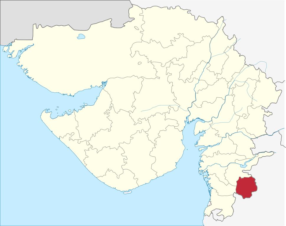 Location of Dang district in Gujarat