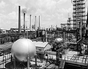 Gulf Oil - Gulf Oil's Port Arthur, Texas refinery, alkylation area, 1956)
