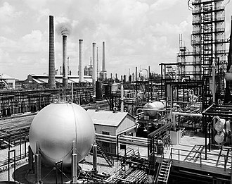 Gulf Oil - Gulf Oil's Port Arthur, Texas refinery, alkylation area, 1956)