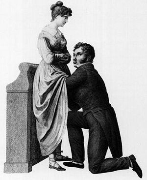 "Medical privacy - Various methods have been used to protect patient's privacy. This drawing by Jacques-Pierre Maygnier (1822) shows a ""compromise"" procedure, in which the physician is kneeling before the woman but cannot see her genitalia."