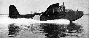 Kawanishi H8K - A captured Japanese Kawanishi H8K Emily taking off at the U.S. Navy Naval Air Test Center at Patuxent River, Maryland (USA), in 1946-47.