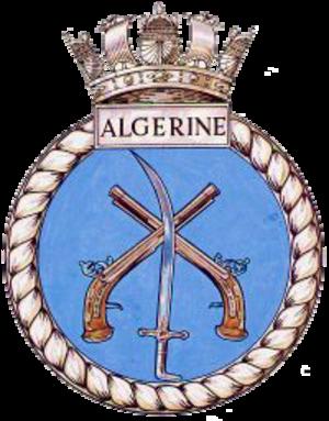 HMS Algerine (J213) - Image: HMS Algerine J213 badge