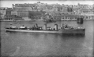 Action of 8 May 1918 - HMS Basilisk off Malta, circa 1915.