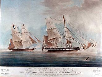 Slave ship - The former slave ship HMS Black Joke (left) fires on the Spanish ship El Almirante before capturing her, January 1829 (painting by Nicholas Matthews Condy)