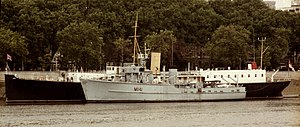 HMS Chrysanthemum (1917) - Chrysanthemum moored on the Thames (partly obscured by minesweeper HMS Glasserton) in 1987