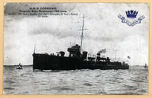 HMS Goshawk depicted on a pre-World War I postcard