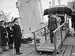 HM King George VI and Queen Elizabeth leaving HMS BICESTER at the end of their visit to the naval base at Larne, Northern Ireland, 26 June 1942. A10089.jpg