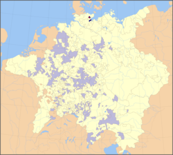 Prince-Bishopric of Lübeck (dark blue) within the Holy Roman Empire (as of 1648), the episcopal residence in Eutin shown by a red spot (other prince-bishoprics in light blue)