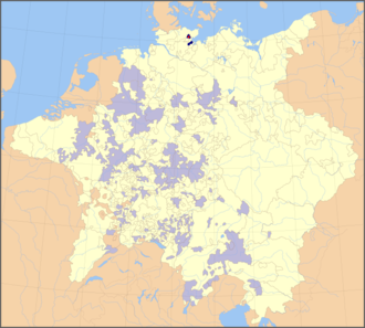 Bishopric of Lübeck - Prince-Bishopric of Lübeck (dark blue) within the Holy Roman Empire (as of 1648), the episcopal residence in Eutin shown by a red spot (other prince-bishoprics in light blue)