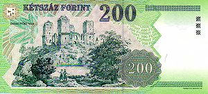 Diósgyőr - The castle of Diósgyőr is on the reverse side of a 200 Hungarian Forint banknote (in circulation between 1998 and 2009)