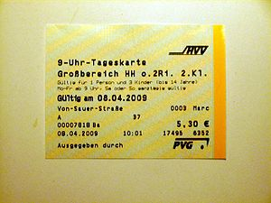 Hamburger Verkehrsverbund - 9 a.m. ticket valid for one person in the Greater Hamburg Area fare zone after 09:00