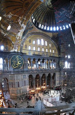 Interior view of the Hagia Sophia from the upper gallery