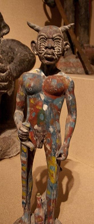Haitian Vodou art - Haitian Vodou fetish statue of a devil with twelve eyes
