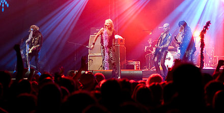 Guns N' Roses's early look and sound was heavily influenced by Finnish band Hanoi Rocks. Hanoi Rocks - Ilosaarirock 2008.jpg