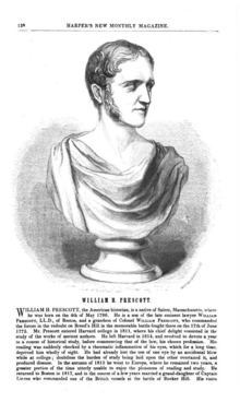 A page from a 19th century magazine with a picture of a bust of a man wearing a toga and facing right
