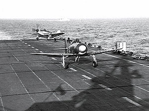 HMCS Magnificent (CVL 21) - A Hawker Sea Fury and a Fairey Firefly aboard Magnificent circa 1947.
