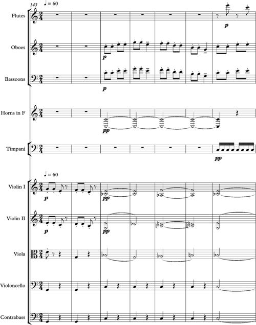 Haydn, Symphony 94, deuxième mesures de mouvement 150-157.png
