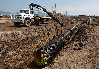 Drainage - High density polyethylene pipe installation in a storm drain project, Mexico.