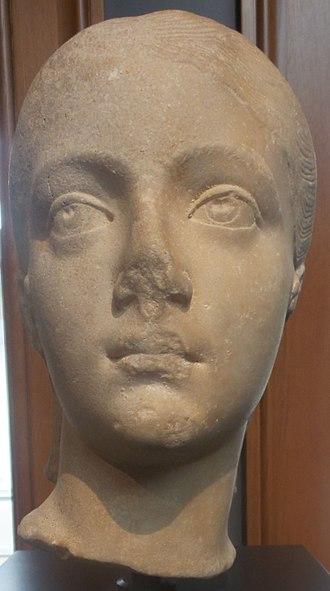 Fulvia Plautilla - Head of Plautilla dated 200-205. Made of marble. Getty Villa.