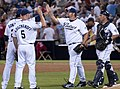Heath Bell congratulated after save.jpg
