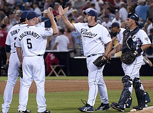 Heath Bell - Bell congratulated after a save in 2009.