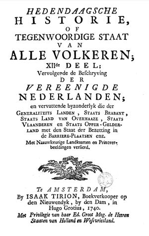 Isaak Tirion - One of many title pages for his magnum opus Hedendaagsche historie