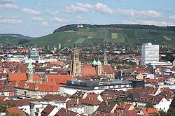 View o the Heilbronn centre o toun toward the Wartberg