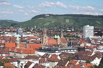 Heilbronn - View of the Heilbronn centre of town toward the Wartberg