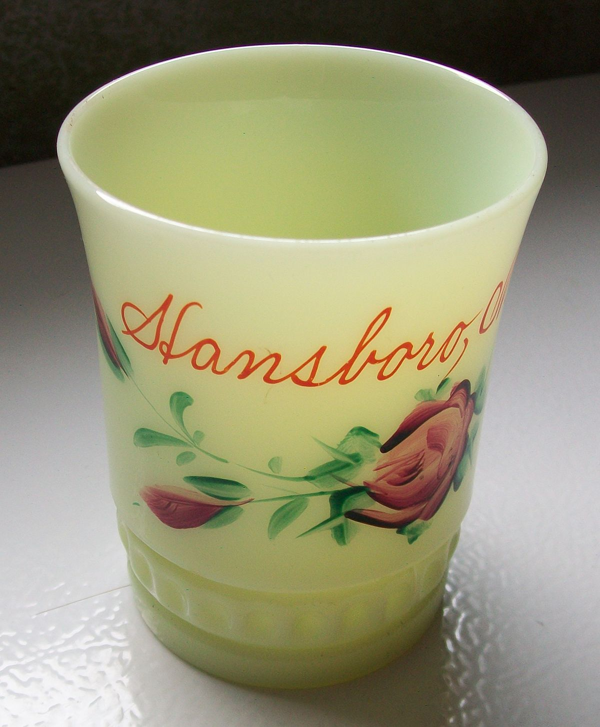 Blown Glass Cup Engraved Barley Coloured Glass Handle