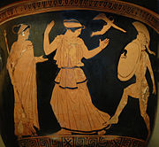 Menelaus regains Helen, detail of an Attic red-figure crater, ca. 450 BC–440 BC, found in Gnathia (now Egnazia, Italy).