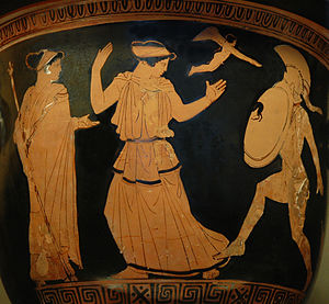 Helen of Troy - Helen and Menelaus: Menelaus intends to strike Helen; captivated by her beauty, he drops his sword. A flying Eros and Aphrodite (on the left) watch the scene. Detail of an Attic red-figure krater c. 450–440 BC (Paris, Louvre)