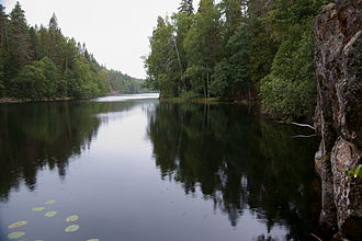 Lakes and other water bodies are common in the taiga. The Helvetinjarvi National Park, Finland, is situated in the closed canopy taiga (mid-boreal to south-boreal) with mean annual temperature of 4 degC (39 degF). Helvetinjarvi.JPG