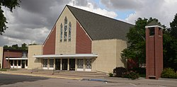 Bethesda Mennonite Church in Henderson.  The majority of the city's residents are descended from 35 Mennonite families who settled the area in 1874.[1]