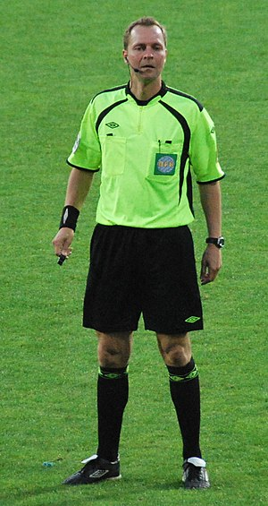 Referee (association football) - Henning Jensen, Danish referee in October 2011.