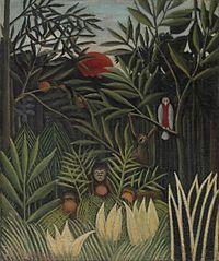Monkeys and Parrot in the Virgin Forest (Singes et perroquet dans la forêt vierge)