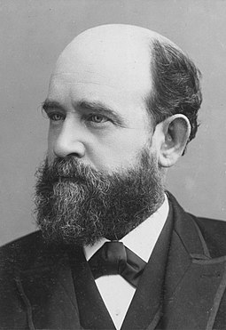 Henry George, influential among left-libertarians, advocated that the value derived from land should belong to all members of a society Henry George c1885 retouched.jpg