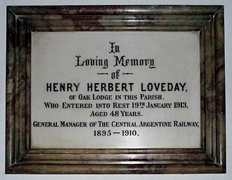 Henry Herbert Loveday - Henry Herbert Loveday plaque.
