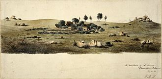 James Munro (sealer) - A view in Tasmania - Preservation Island, off SW corner of Cape Barren Island; view of the establishment of James Munro in centre, on broad plain, surrounded by cluster of trees. 1831 Pen and grey ink and watercolour(Henry Laing, 1831)