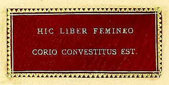 "Anthropodermic bibliopegy - Panel with Latin inscription in the book : Hic liber femineo corio convestitus est (""This book is bound in a woman's skin"")"