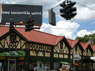 "The Highlands, Louisville - Bardstown Road and Bonnycastle is part of what is called the ""Heart of the Highlands"". Above this landmark Faux Tudor building is a ""Keep Louisville Weird"" sign promoting locally owned businesses in Louisville."