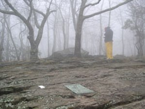 Springer Mountain - Image: Hiker signing register at Springer Mountain