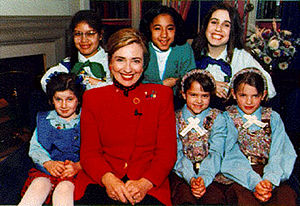Girl Scouts of the USA - Hillary Clinton posing with Girl Scouts